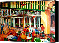 Corner Cafe Canvas Prints - Early Morning at the Cafe Du Monde Canvas Print by Diane Millsap