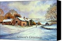 Rural Scenes Reliefs Canvas Prints - Early morning snow Christmas cards Canvas Print by Andrew Read