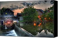 Old Mill Pigeon Forge Canvas Prints - Early Morning Spin Canvas Print by Greg and Chrystal Mimbs