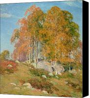 Signed Painting Canvas Prints - Early October Canvas Print by Willard Leroy Metcalf