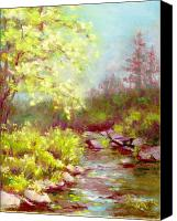 Mountains Pastels Canvas Prints - Early Summer on the Big Thompson River Canvas Print by Grace Goodson