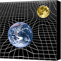 Theory Of Relativity Canvas Prints - Earth And Moon Space-time Warp, Artwork Canvas Print by Victor De Schwanberg