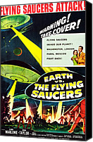 1950s Poster Art Canvas Prints - Earth Vs. The Flying Saucers, 1956 Canvas Print by Everett