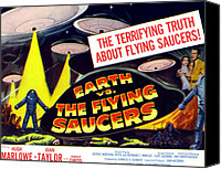 1956 Movies Canvas Prints - Earth Vs. The Flying Saucers, Far Right Canvas Print by Everett