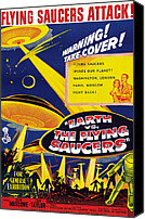 1950s Poster Art Canvas Prints - Earth Vs. The Flying Saucers, Joan Canvas Print by Everett
