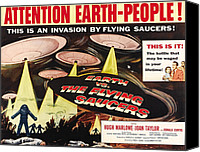 1956 Movies Canvas Prints - Earth Vs. The Flying Saucers, Right Canvas Print by Everett