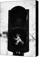 Crosswalk Canvas Prints - East German Ampelmannchen go walking traffic light man Berlin Germany Canvas Print by Joe Fox