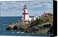 East Canvas Prints - East Quoddy Lighthouse Canvas Print by John Greim