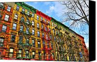 Nyc Fire Escapes Canvas Prints - East Village Buildings Canvas Print by Randy Aveille
