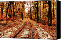 Indiana Autumn Digital Art Canvas Prints - Eastbound Canvas Print by Sandy Keeton