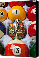Ball Canvas Prints - Easter Egg Among Pool Balls Canvas Print by Garry Gay