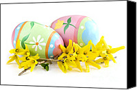 Decorated Canvas Prints - Easter eggs Canvas Print by Elena Elisseeva