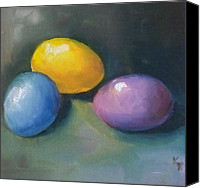 Easter Bunny Painting Canvas Prints - Easter Eggs No. 1 Canvas Print by Kristine Kainer