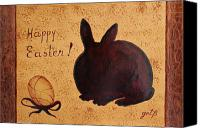 Easter Bunny Painting Canvas Prints - Easter Golden Egg and Chocolate Bunny Canvas Print by Georgeta  Blanaru