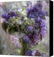 The Art Of Carol Cavalaris Mixed Media Canvas Prints - Easter Lilacs Canvas Print by Carol Cavalaris