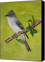 Eastern Wood-pewee Canvas Prints - Easterm Wood Pewee Canvas Print by Betty-Anne McDonald