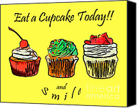 Cupcakes Digital Art Canvas Prints - Eat A CupCake Today . And Smile Canvas Print by Wingsdomain Art and Photography