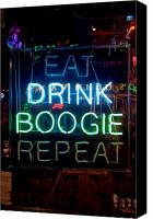 Boogie Canvas Prints - EAT DRINK BOOGIE REPEAT Beale Street Memphis Tennessee Canvas Print by Wayne Higgs