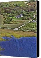 Aerial Canvas Prints - Eat Fire Spring Road Polpis Nantucket Island  Canvas Print by Duncan Pearson