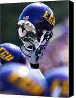 Team Canvas Prints - ECU Helmet Held High Canvas Print by Rob Goldberg