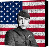 Flag Digital Art Canvas Prints - Eddie Rickenbacker and The American Flag Canvas Print by War Is Hell Store