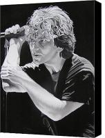 Famous Drawings Canvas Prints - Eddie Vedder Black and White Canvas Print by Joshua Morton