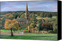 Great Painting Canvas Prints - Edensor - Chatsworth Park - Derbyshire Canvas Print by Trevor Neal