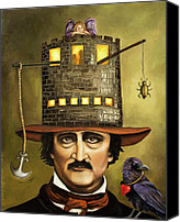 Hat Canvas Prints - Edgar Allan Poe Canvas Print by Leah Saulnier The Painting Maniac