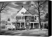 Haunted House Mixed Media Canvas Prints - Edgar Home BW Canvas Print by Kip DeVore