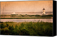 Impressionism Photo Canvas Prints - Edgartown Lighthouse Canvas Print by Bill  Wakeley