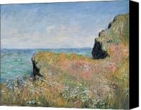 Floral Canvas Prints - Edge of the Cliff Pourville Canvas Print by Claude Monet