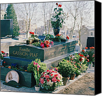 Edith Piaf Canvas Prints - Edith Piaf grave in Pere Lachaise Cemetery in Paris Canvas Print by Shaun Higson