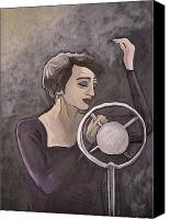 1960 Painting Canvas Prints - Edith Piaf Canvas Print by Reb Frost