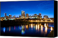 Saskatchewan Canvas Prints - Edmonton Skyline Canvas Print by Terry Elniski