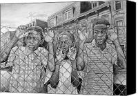 African American Art Drawings Canvas Prints - Education Is The Way Out Canvas Print by Curtis James