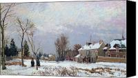 Louveciennes Painting Canvas Prints - Effects of Snow Canvas Print by Camille Pissarro
