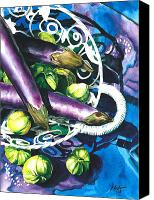 Vegetables Canvas Prints - Eggplants Canvas Print by Nadi Spencer