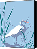 1980s Canvas Prints - Egret graphic pop art nouveau 80s 1980s stylized retro tropical florida bird print blue gray green Canvas Print by Walt Curlee