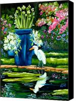 Florida Flowers Mixed Media Canvas Prints - Egret visits goldfish pond Canvas Print by Carol Allen Anfinsen