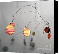 Kinetic Sculpture Sculpture Canvas Prints - Egyptian Sun Zen Kinetic Mobile Watercolor Sculpture Canvas Print by Carolyn Weir