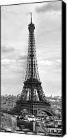 Television Canvas Prints - Eiffel Tower BLACK AND WHITE Canvas Print by Melanie Viola