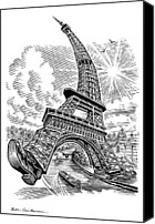 21st Century Canvas Prints - Eiffel Tower, Conceptual Artwork Canvas Print by Bill Sanderson