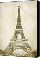 France Canvas Prints - Eiffel Tower Illustration Canvas Print by Paul Topp
