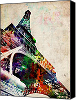 Landmark Canvas Prints - Eiffel Tower Canvas Print by Michael Tompsett