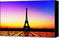 Ile De France Canvas Prints - Eiffel Tower Silhouette In Sunrise Canvas Print by Audun Bakke Andersen