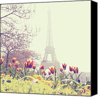 International Landmark Canvas Prints - Eiffel Tower With Tulips Canvas Print by Gabriela D Costa
