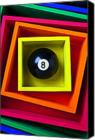 Sports Canvas Prints - Eight Ball In Box Canvas Print by Garry Gay