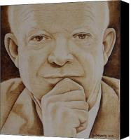 Portraits Pyrography Canvas Prints - Eisenhower - The Man  Canvas Print by Jo Schwartz