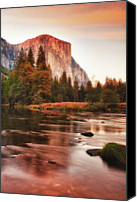 Lake Canvas Prints - El Capitan And Lake At Sunset Canvas Print by Susan Gary