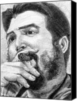 Leader Drawings Canvas Prints - El Che Canvas Print by Roberto Valdes Sanchez